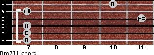 Bm7/11 for guitar on frets 7, 7, 7, 11, 7, 10