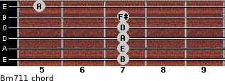 Bm7/11 for guitar on frets 7, 7, 7, 7, 7, 5