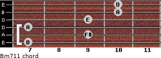 Bm7/11 for guitar on frets 7, 9, 7, 9, 10, 10
