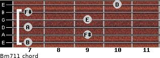 Bm7/11 for guitar on frets 7, 9, 7, 9, 7, 10