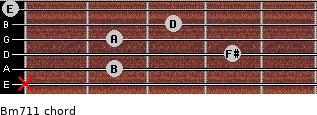 Bm7/11 for guitar on frets x, 2, 4, 2, 3, 0