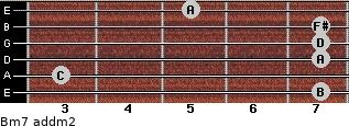 Bm7 add(m2) for guitar on frets 7, 3, 7, 7, 7, 5