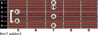 Bm7 add(m2) for guitar on frets 7, 5, 7, 5, 7, 7