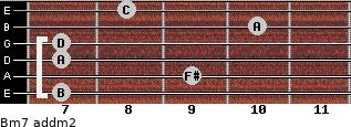 Bm7 add(m2) for guitar on frets 7, 9, 7, 7, 10, 8