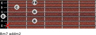 Bm7 add(m2) for guitar on frets x, 2, 0, 2, 1, 2