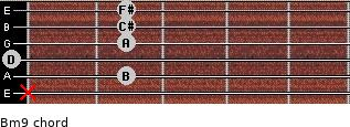Bm9 for guitar on frets x, 2, 0, 2, 2, 2