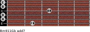 Bm9/11/Gb add(7) guitar chord