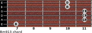Bm9/13 for guitar on frets 7, 11, 11, 11, 10, 10