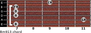 Bm9/13 for guitar on frets 7, 11, 7, 7, 7, 9