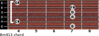 Bm9/13 for guitar on frets 7, 4, 7, 7, 7, 4