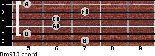 Bm9/13 for guitar on frets 7, 5, 6, 6, 7, 5