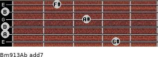 Bm9/13/Ab add(7) for guitar on frets 4, 0, 0, 3, 0, 2