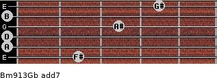 Bm9/13/Gb add(7) guitar chord