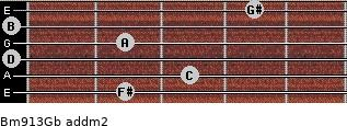 Bm9/13/Gb add(m2) guitar chord
