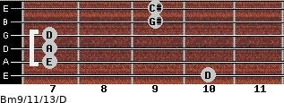 Bm9/11/13/D for guitar on frets 10, 7, 7, 7, 9, 9