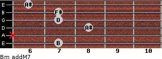 Bm(addM7) for guitar on frets 7, x, 8, 7, 7, 6