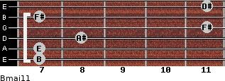 Bmaj11 for guitar on frets 7, 7, 8, 11, 7, 11