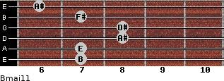 Bmaj11 for guitar on frets 7, 7, 8, 8, 7, 6