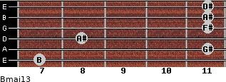 Bmaj13 for guitar on frets 7, 11, 8, 11, 11, 11