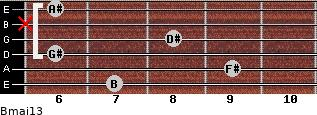 Bmaj13 for guitar on frets 7, 9, 6, 8, x, 6