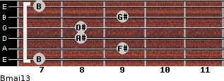 Bmaj13 for guitar on frets 7, 9, 8, 8, 9, 7