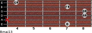 Bmaj13 for guitar on frets 7, x, 8, 8, 7, 4