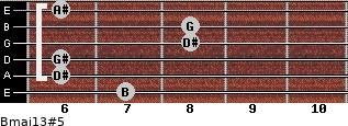 Bmaj13#5 for guitar on frets 7, 6, 6, 8, 8, 6