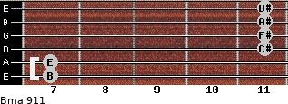 Bmaj9/11 for guitar on frets 7, 7, 11, 11, 11, 11