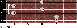 Bmaj9/11 for guitar on frets 7, 7, 4, 6, 4, 6