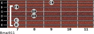 Bmaj9/11 for guitar on frets 7, 7, 8, 8, 7, 9