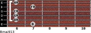 Bmaj9/13 for guitar on frets 7, 6, 6, 6, 7, 6