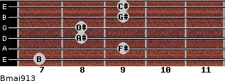 Bmaj9/13 for guitar on frets 7, 9, 8, 8, 9, 9