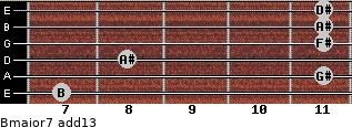 Bmajor7(add13) for guitar on frets 7, 11, 8, 11, 11, 11