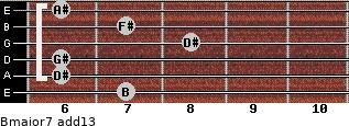 Bmajor7(add13) for guitar on frets 7, 6, 6, 8, 7, 6