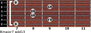 Bmajor7(add13) for guitar on frets 7, 9, 8, 8, 9, 7