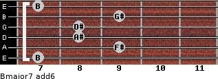 Bmajor7(add6) for guitar on frets 7, 9, 8, 8, 9, 7