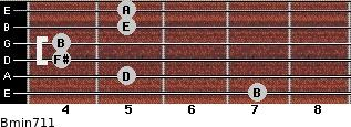 Bmin7/11 for guitar on frets 7, 5, 4, 4, 5, 5