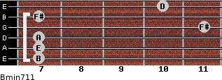 Bmin7/11 for guitar on frets 7, 7, 7, 11, 7, 10