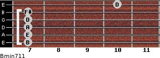Bmin7/11 for guitar on frets 7, 7, 7, 7, 7, 10
