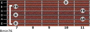 Bmin7/6 for guitar on frets 7, 11, 7, 11, 7, 10