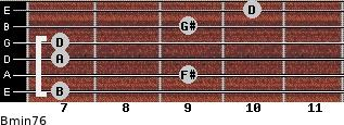 Bmin7/6 for guitar on frets 7, 9, 7, 7, 9, 10