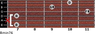 Bmin7/6 for guitar on frets 7, x, 7, 11, 9, 10