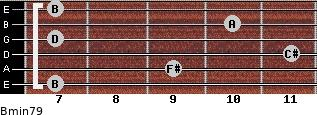 Bmin7/9 for guitar on frets 7, 9, 11, 7, 10, 7