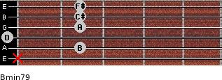 Bmin7/9 for guitar on frets x, 2, 0, 2, 2, 2