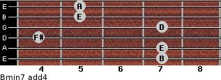 Bmin7(add4) for guitar on frets 7, 7, 4, 7, 5, 5