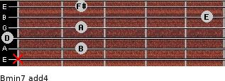 Bmin7(add4) for guitar on frets x, 2, 0, 2, 5, 2