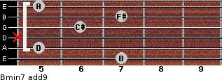 Bmin7(add9) for guitar on frets 7, 5, x, 6, 7, 5
