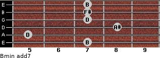 Bmin(add7) for guitar on frets 7, 5, 8, 7, 7, 7