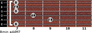 Bmin(addM7) for guitar on frets 7, 9, 8, 7, 7, 7