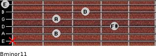 Bminor11 for guitar on frets x, 2, 4, 2, 3, 0